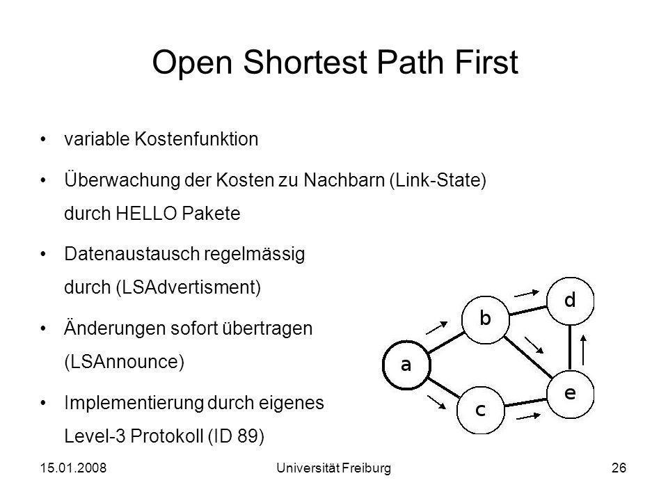 Open Shortest Path First variable Kostenfunktion Überwachung der Kosten zu Nachbarn (Link-State) durch HELLO Pakete Datenaustausch regelmässig durch (