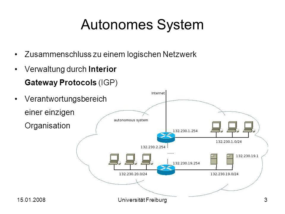 Autonomes System Zusammenschluss zu einem logischen Netzwerk Verwaltung durch Interior Gateway Protocols (IGP) Verantwortungsbereich einer einzigen Or