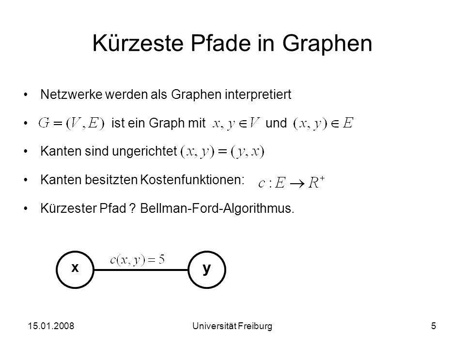 Bellman-Gleichung kürzeste Distanz von Startknoten x zu Ziel y über Nachbarknoten v Distanzkosten: Beispiel: 15.01.20086Universität Freiburg 1 4 5