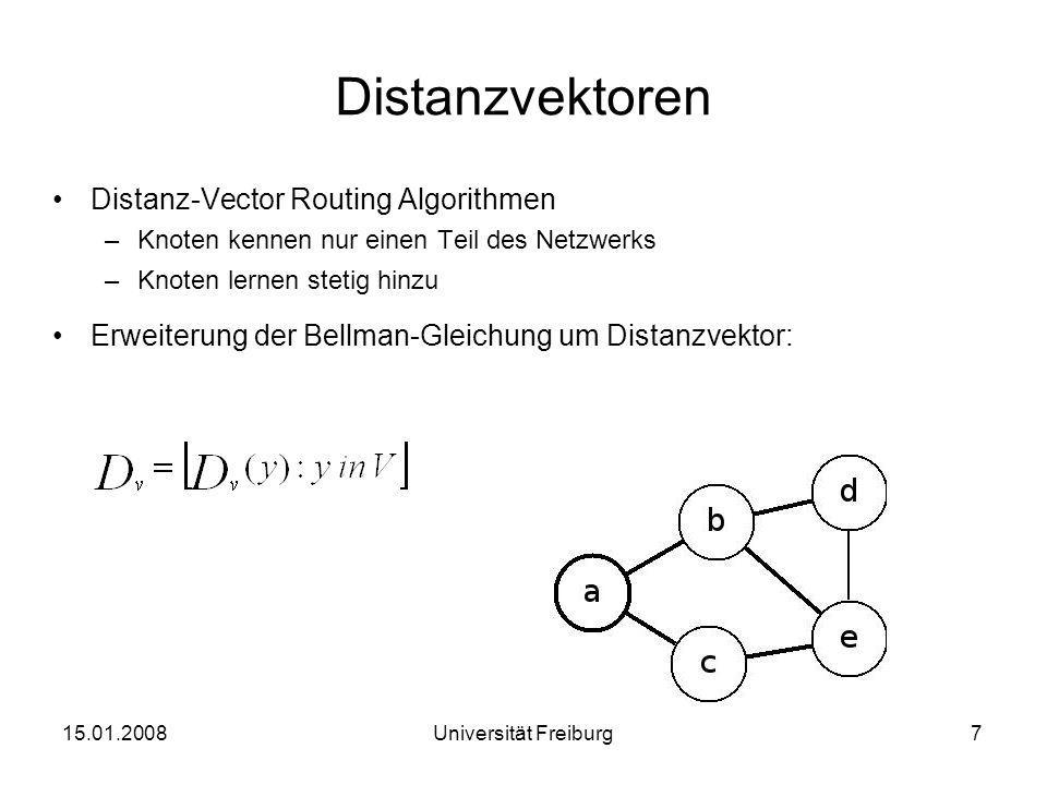 Bellman-Ford-Algorithmus (0) Initialization: for all destination y in V: /* if y is not neighbour than /* for each neighbour v for all destinations y in V for each neighbour v send distance vector to v Loop wait (until I see link cost change to some neighbour v or until I receive a distance vector from some neighbour v) for each y in V: if D x (v) changed for any destination y send distance vector to all neighbours forever 15.01.20088Universität Freiburg