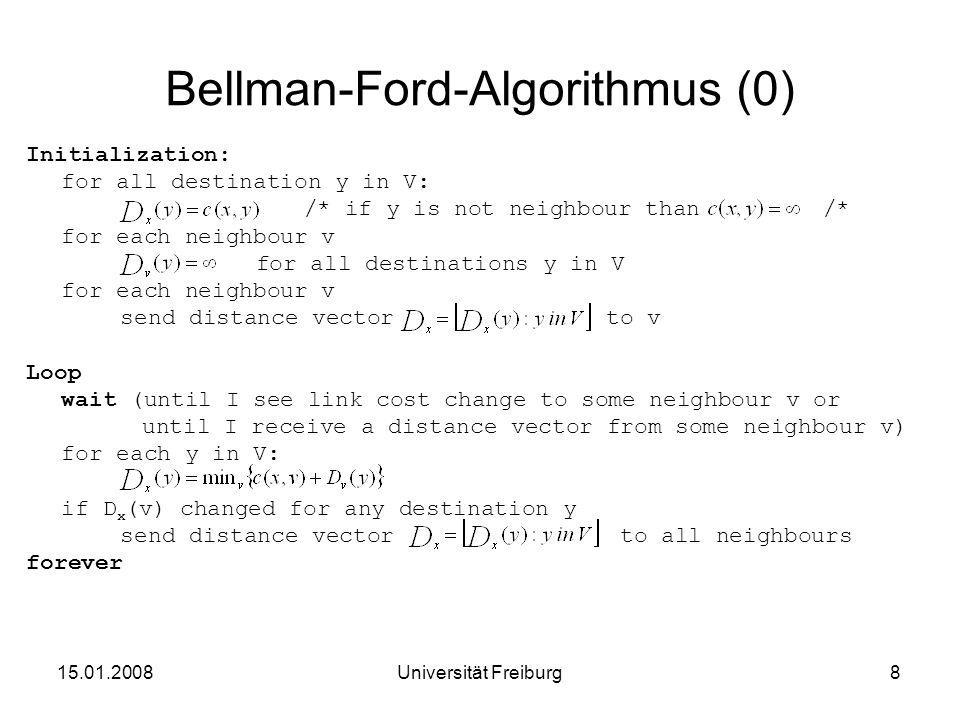Bellman-Ford-Algorithmus (0) Initialization: for all destination y in V: /* if y is not neighbour than /* for each neighbour v for all destinations y