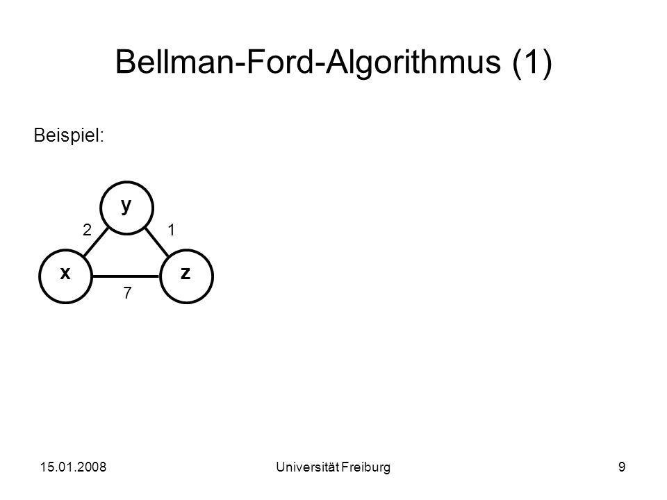 Bellman-Ford-Algorithmus (2) Beispiel:Initialisierungsphase 15.01.200810Universität Freiburg xz y 12 7 x in t 0 nach xyz von x027 y∞∞∞ z∞∞∞ y in t 0 nach xyz von x∞∞∞ y201 z∞∞∞ z in t 0 nach xyz von x∞∞∞ y∞∞∞ z710