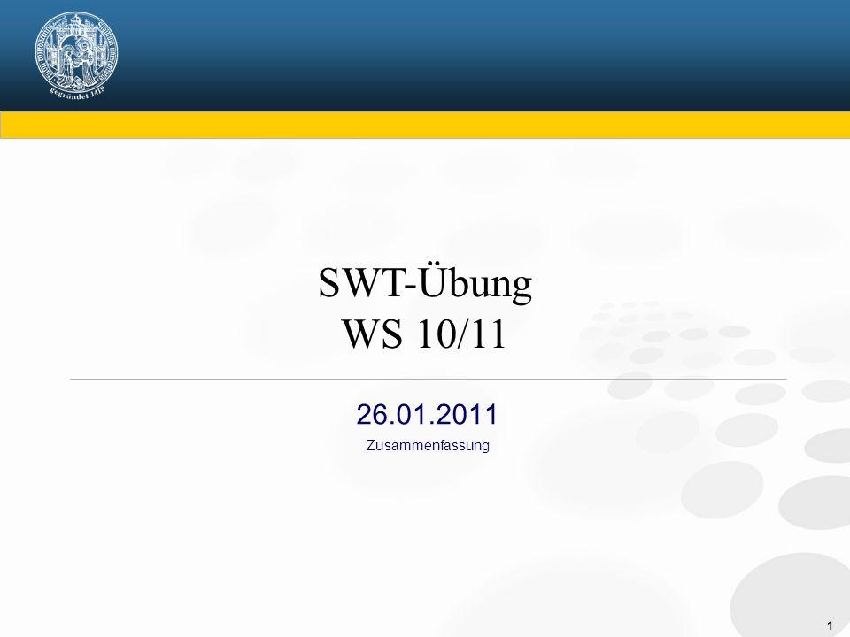 1 26.01.2011 Zusammenfassung SWT-Übung WS 10/11