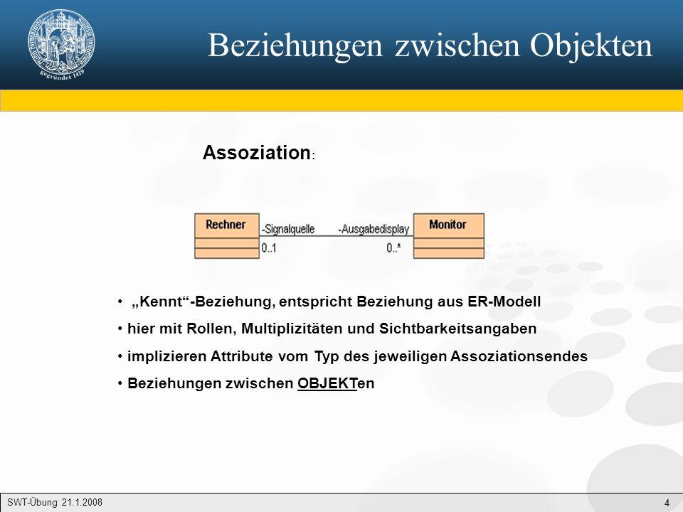 """4 Beziehungen zwischen Objekten SWT-Übung 21.1.2008 Assoziation : """"Kennt""""-Beziehung, entspricht Beziehung aus ER-Modell hier mit Rollen, Multiplizität"""