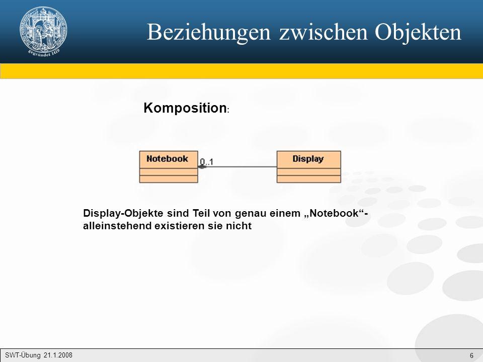 """6 Beziehungen zwischen Objekten Komposition : Display-Objekte sind Teil von genau einem """"Notebook""""- alleinstehend existieren sie nicht SWT-Übung 21.1."""