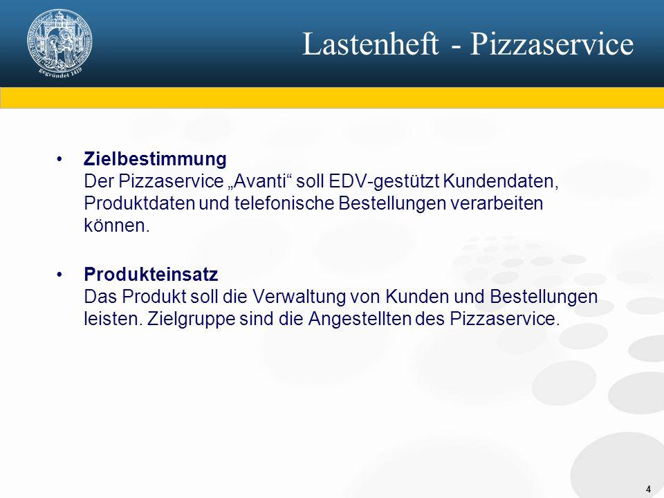 """4 Lastenheft - Pizzaservice Zielbestimmung Der Pizzaservice """"Avanti soll EDV-gestützt Kundendaten, Produktdaten und telefonische Bestellungen verarbeiten können."""