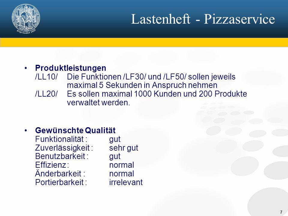 7 Produktleistungen /LL10/ Die Funktionen /LF30/ und /LF50/ sollen jeweils maximal 5 Sekunden in Anspruch nehmen /LL20/ Es sollen maximal 1000 Kunden und 200 Produkte verwaltet werden.