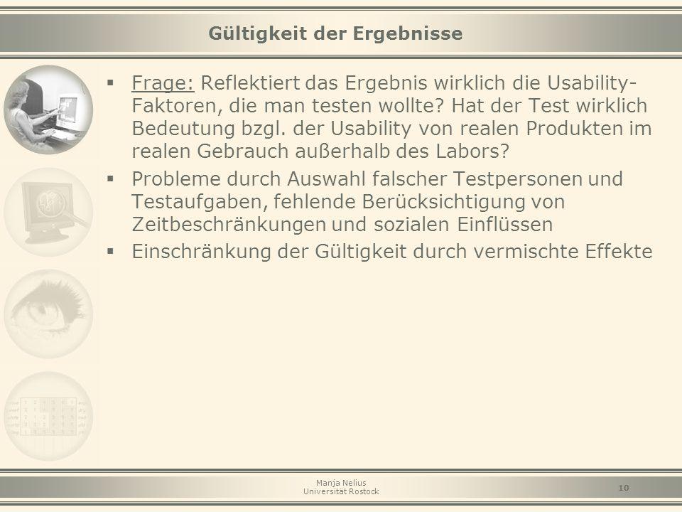 Manja Nelius Universität Rostock 10  Frage: Reflektiert das Ergebnis wirklich die Usability- Faktoren, die man testen wollte? Hat der Test wirklich B