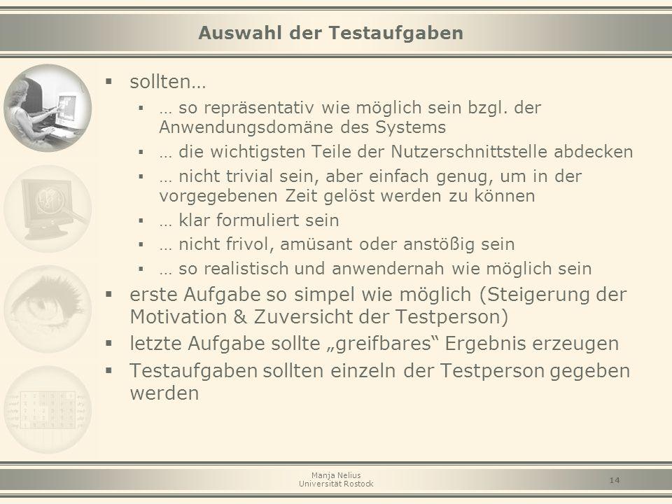 Manja Nelius Universität Rostock 14 Auswahl der Testaufgaben  sollten… ▪ … so repräsentativ wie möglich sein bzgl. der Anwendungsdomäne des Systems ▪