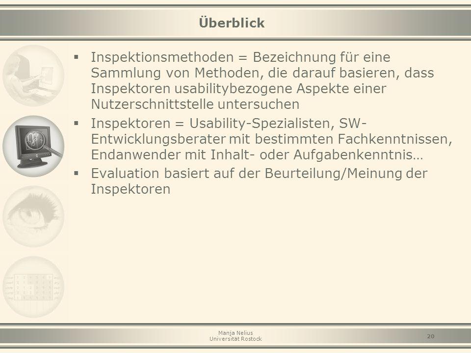 Manja Nelius Universität Rostock 20 Überblick  Inspektionsmethoden = Bezeichnung für eine Sammlung von Methoden, die darauf basieren, dass Inspektore