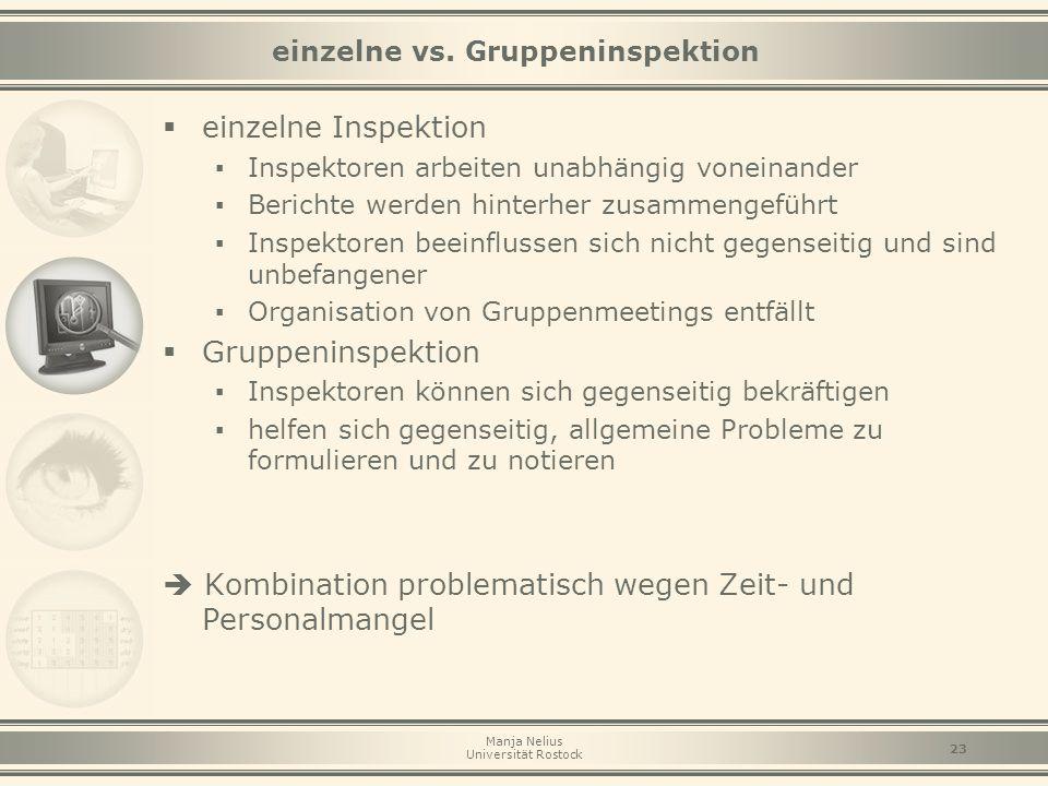 Manja Nelius Universität Rostock 23 einzelne vs. Gruppeninspektion  einzelne Inspektion ▪ Inspektoren arbeiten unabhängig voneinander ▪ Berichte werd