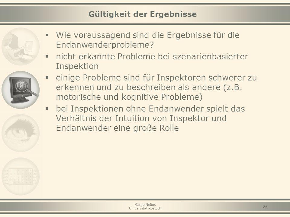 Manja Nelius Universität Rostock 25 Gültigkeit der Ergebnisse  Wie voraussagend sind die Ergebnisse für die Endanwenderprobleme?  nicht erkannte Pro