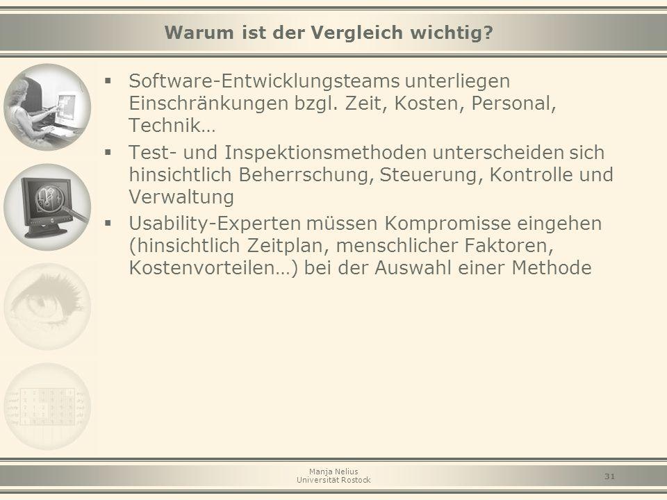 Manja Nelius Universität Rostock 31 Warum ist der Vergleich wichtig?  Software-Entwicklungsteams unterliegen Einschränkungen bzgl. Zeit, Kosten, Pers