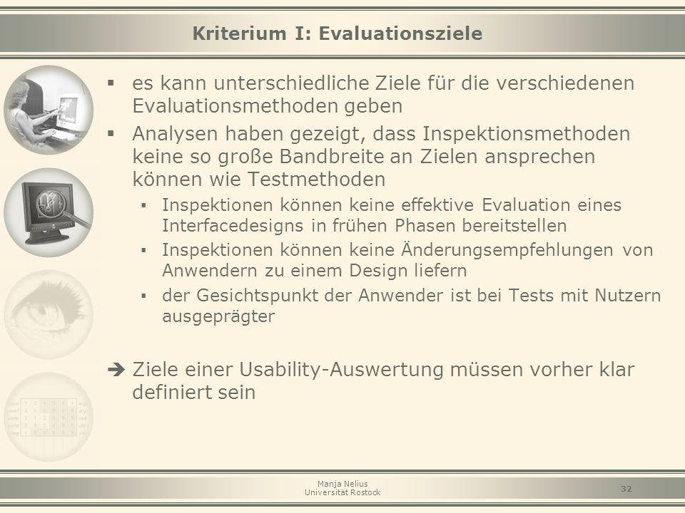 Manja Nelius Universität Rostock 32 Kriterium I: Evaluationsziele  es kann unterschiedliche Ziele für die verschiedenen Evaluationsmethoden geben  A