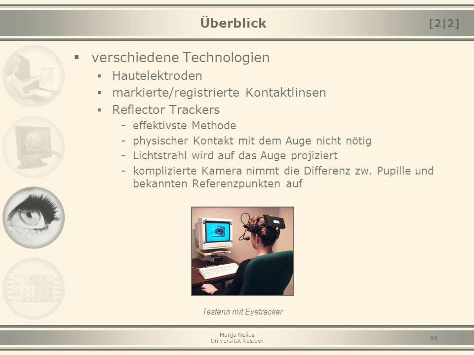 Manja Nelius Universität Rostock 44 Überblick  verschiedene Technologien ▪ Hautelektroden ▪ markierte/registrierte Kontaktlinsen ▪ Reflector Trackers