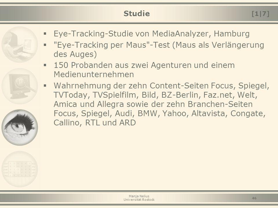 Manja Nelius Universität Rostock 46 Studie  Eye-Tracking-Studie von MediaAnalyzer, Hamburg 