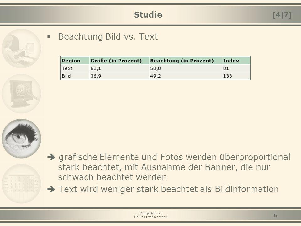 Manja Nelius Universität Rostock 49 Studie  Beachtung Bild vs. Text  grafische Elemente und Fotos werden überproportional stark beachtet, mit Ausnah