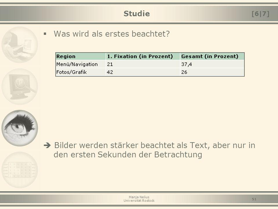 Manja Nelius Universität Rostock 51 Studie  Was wird als erstes beachtet?  Bilder werden stärker beachtet als Text, aber nur in den ersten Sekunden