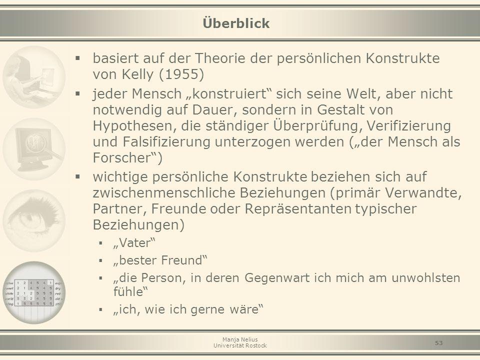 """Manja Nelius Universität Rostock 53 Überblick  basiert auf der Theorie der persönlichen Konstrukte von Kelly (1955)  jeder Mensch """"konstruiert"""" sich"""