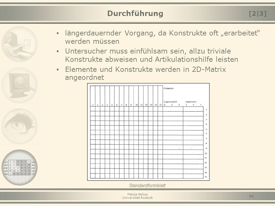 """Manja Nelius Universität Rostock 55 Durchführung ▪ längerdauernder Vorgang, da Konstrukte oft """"erarbeitet"""" werden müssen ▪ Untersucher muss einfühlsam"""