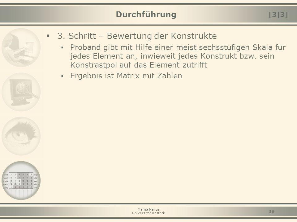 Manja Nelius Universität Rostock 56 Durchführung  3. Schritt – Bewertung der Konstrukte ▪ Proband gibt mit Hilfe einer meist sechsstufigen Skala für