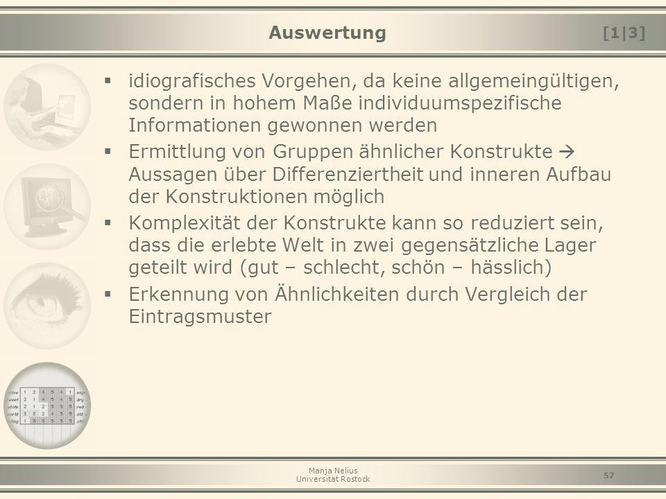 Manja Nelius Universität Rostock 57 Auswertung  idiografisches Vorgehen, da keine allgemeingültigen, sondern in hohem Maße individuumspezifische Info