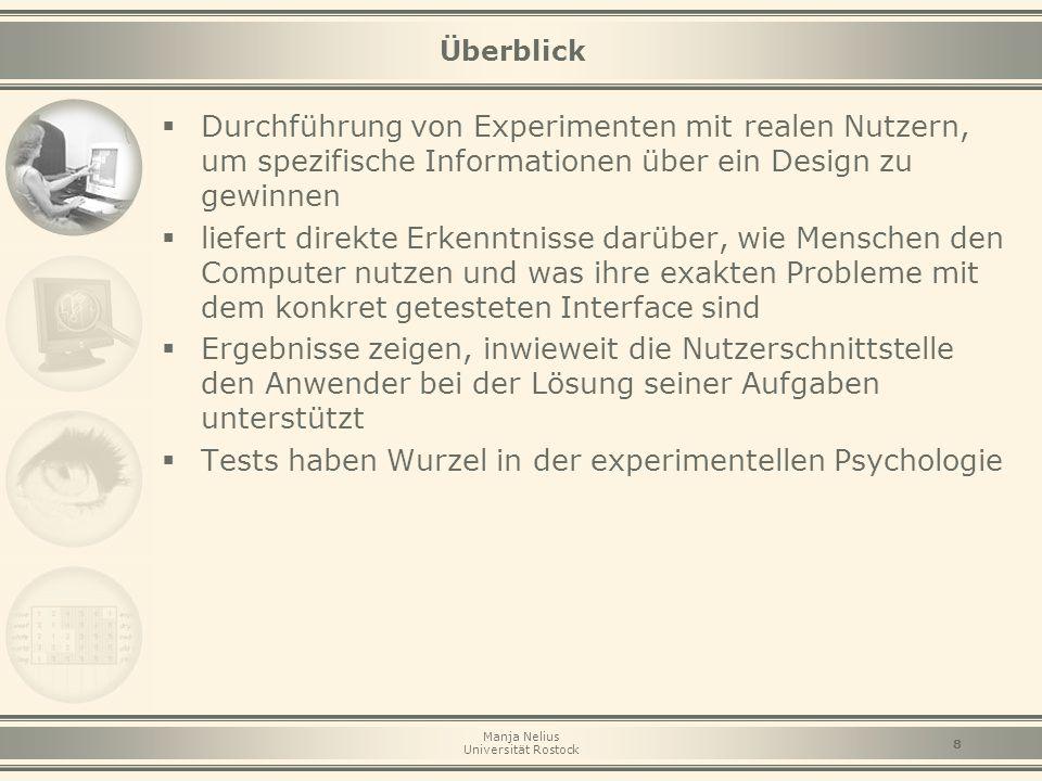 """Manja Nelius Universität Rostock 19 """"Performance Measurement  zur Gewinnung quantitativer Daten  Durchführung im Usability-Labor zur genauen Kontrolle der Daten und Vermeidung von Störungen  für vergleichende Tests  Kombination mit retrospektiven Methoden (z.B."""