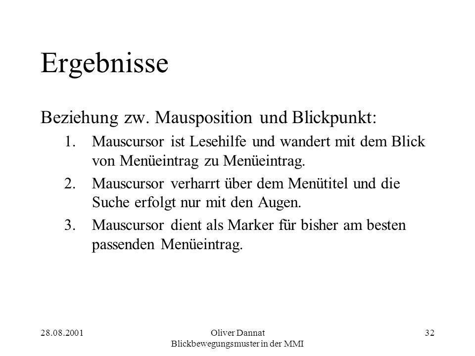 28.08.2001Oliver Dannat Blickbewegungsmuster in der MMI 32 Ergebnisse Beziehung zw.