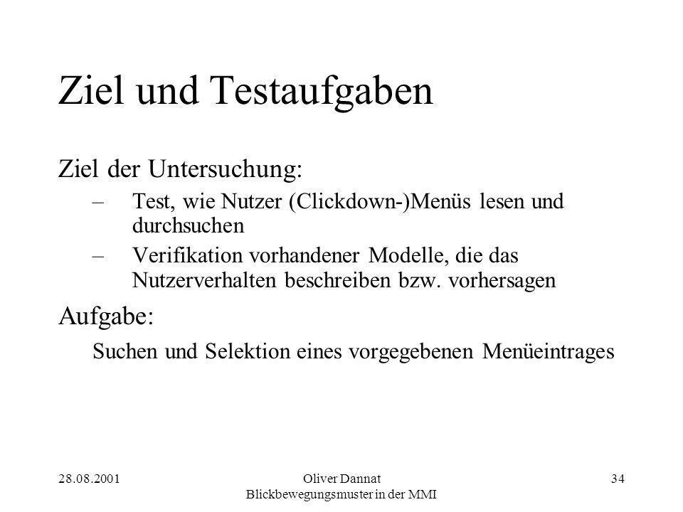 28.08.2001Oliver Dannat Blickbewegungsmuster in der MMI 34 Ziel und Testaufgaben Ziel der Untersuchung: –Test, wie Nutzer (Clickdown-)Menüs lesen und