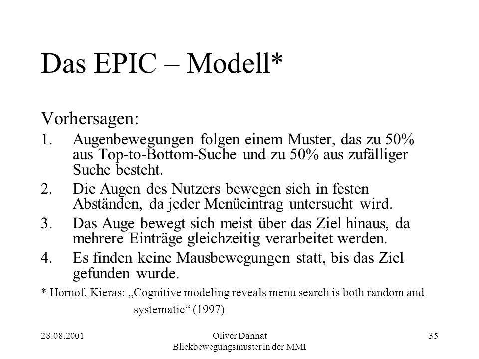 28.08.2001Oliver Dannat Blickbewegungsmuster in der MMI 35 Das EPIC – Modell* Vorhersagen: 1.Augenbewegungen folgen einem Muster, das zu 50% aus Top-to-Bottom-Suche und zu 50% aus zufälliger Suche besteht.