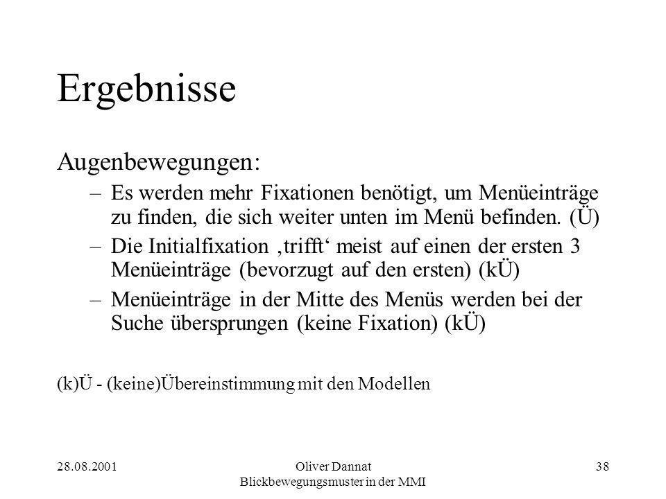 28.08.2001Oliver Dannat Blickbewegungsmuster in der MMI 38 Ergebnisse Augenbewegungen: –Es werden mehr Fixationen benötigt, um Menüeinträge zu finden, die sich weiter unten im Menü befinden.