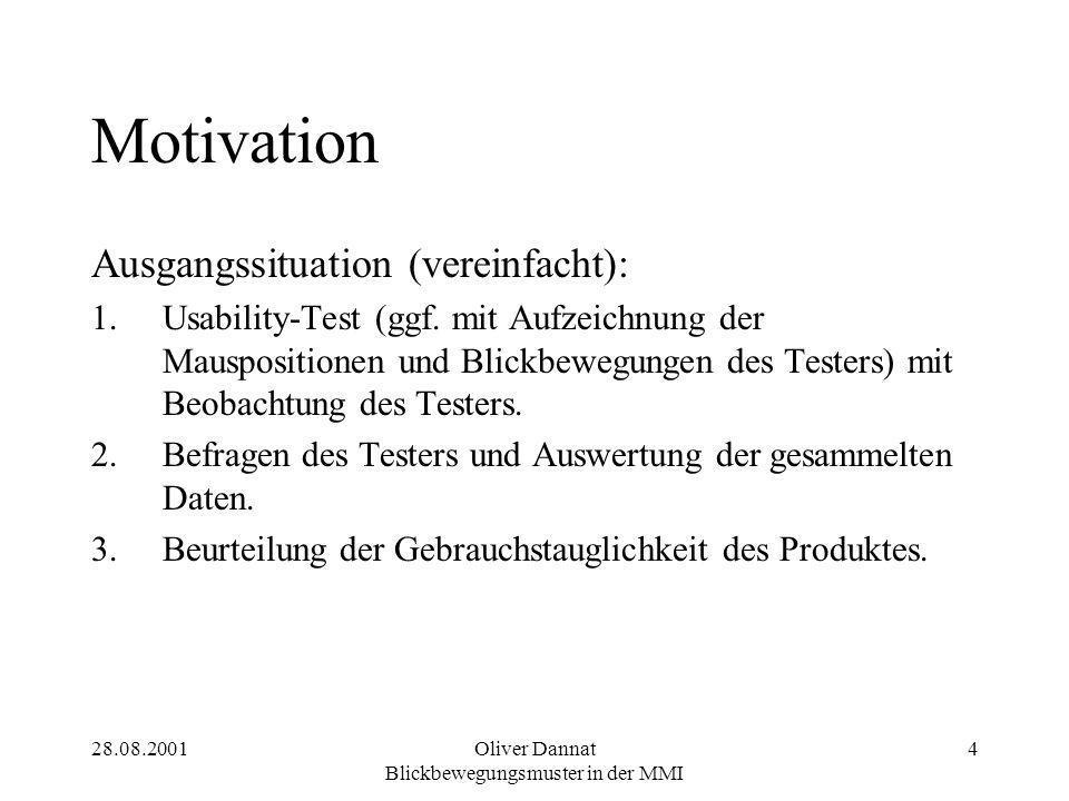 28.08.2001Oliver Dannat Blickbewegungsmuster in der MMI 4 Motivation Ausgangssituation (vereinfacht): 1.Usability-Test (ggf. mit Aufzeichnung der Maus