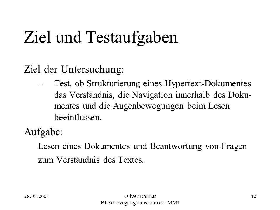 28.08.2001Oliver Dannat Blickbewegungsmuster in der MMI 42 Ziel und Testaufgaben Ziel der Untersuchung: –Test, ob Strukturierung eines Hypertext-Dokum
