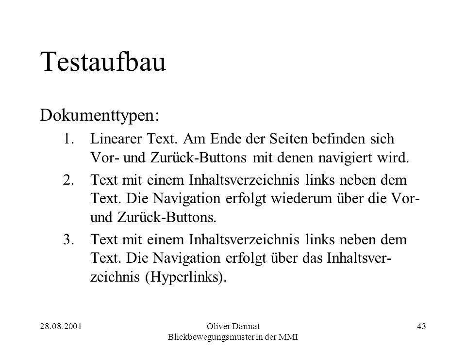 28.08.2001Oliver Dannat Blickbewegungsmuster in der MMI 43 Testaufbau Dokumenttypen: 1.Linearer Text. Am Ende der Seiten befinden sich Vor- und Zurück