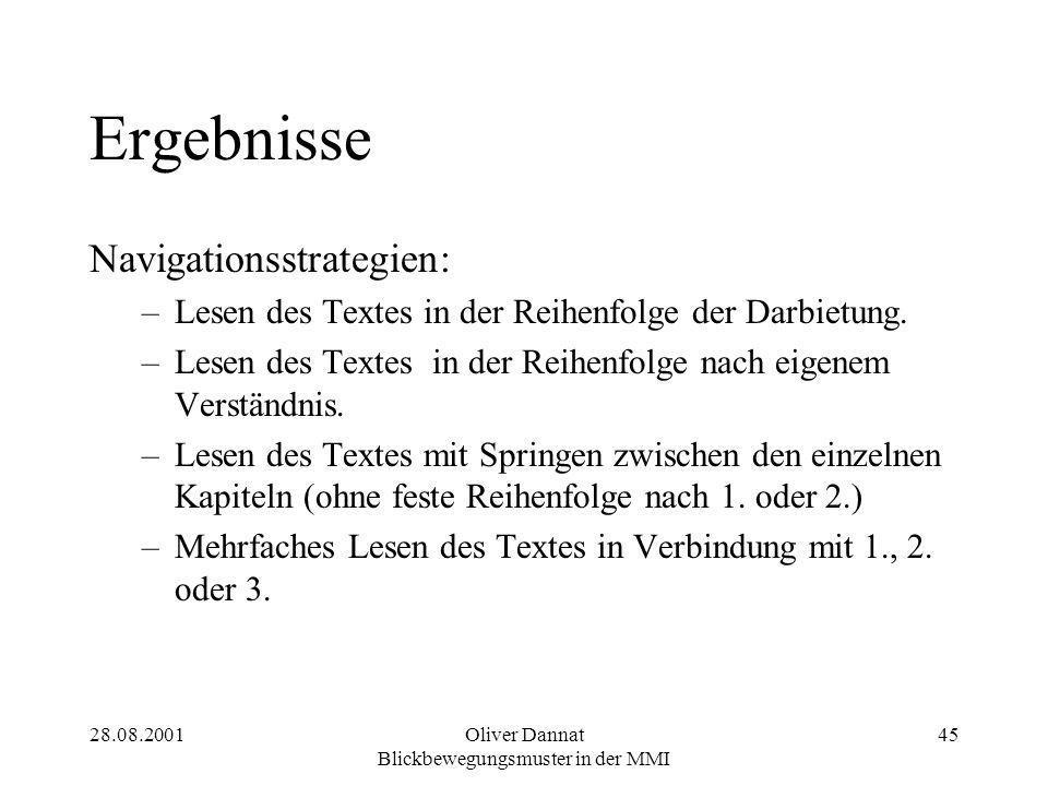 28.08.2001Oliver Dannat Blickbewegungsmuster in der MMI 45 Ergebnisse Navigationsstrategien: –Lesen des Textes in der Reihenfolge der Darbietung. –Les