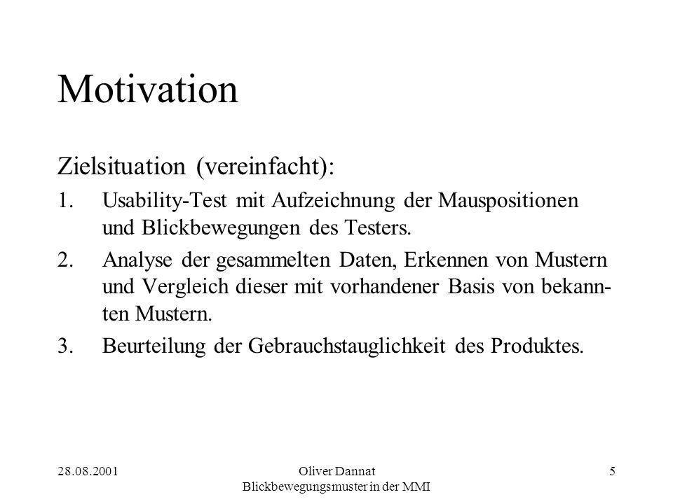 28.08.2001Oliver Dannat Blickbewegungsmuster in der MMI 5 Motivation Zielsituation (vereinfacht): 1.Usability-Test mit Aufzeichnung der Mauspositionen und Blickbewegungen des Testers.