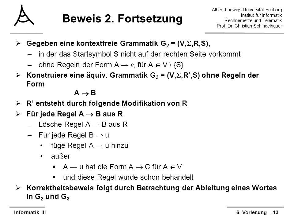 Albert-Ludwigs-Universität Freiburg Institut für Informatik Rechnernetze und Telematik Prof. Dr. Christian Schindelhauer Informatik III6. Vorlesung -