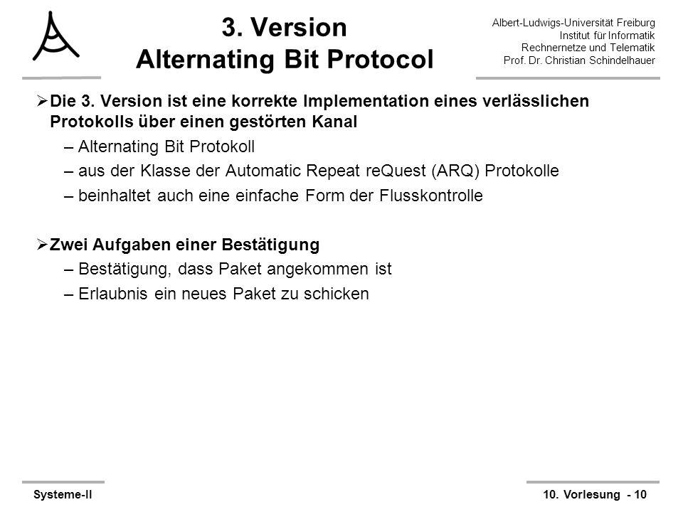 Albert-Ludwigs-Universität Freiburg Institut für Informatik Rechnernetze und Telematik Prof. Dr. Christian Schindelhauer Systeme-II10. Vorlesung - 10