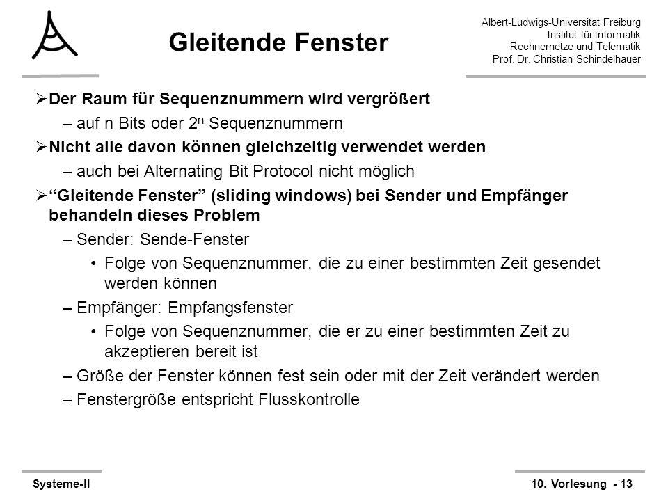 Albert-Ludwigs-Universität Freiburg Institut für Informatik Rechnernetze und Telematik Prof. Dr. Christian Schindelhauer Systeme-II10. Vorlesung - 13