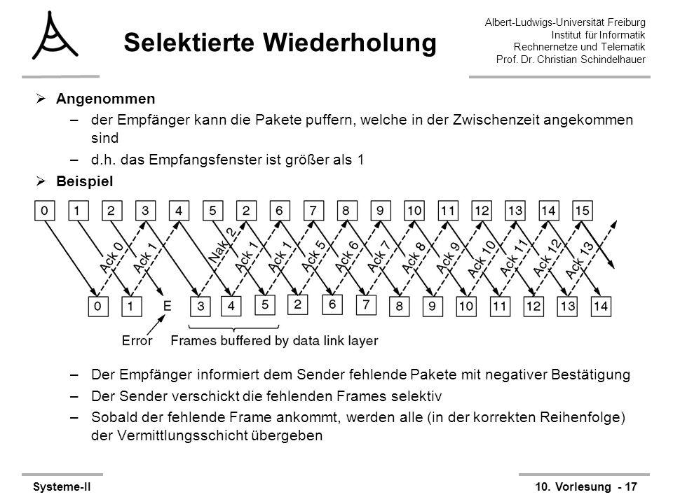 Albert-Ludwigs-Universität Freiburg Institut für Informatik Rechnernetze und Telematik Prof. Dr. Christian Schindelhauer Systeme-II10. Vorlesung - 17
