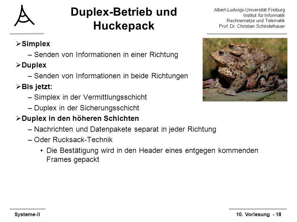 Albert-Ludwigs-Universität Freiburg Institut für Informatik Rechnernetze und Telematik Prof. Dr. Christian Schindelhauer Systeme-II10. Vorlesung - 18