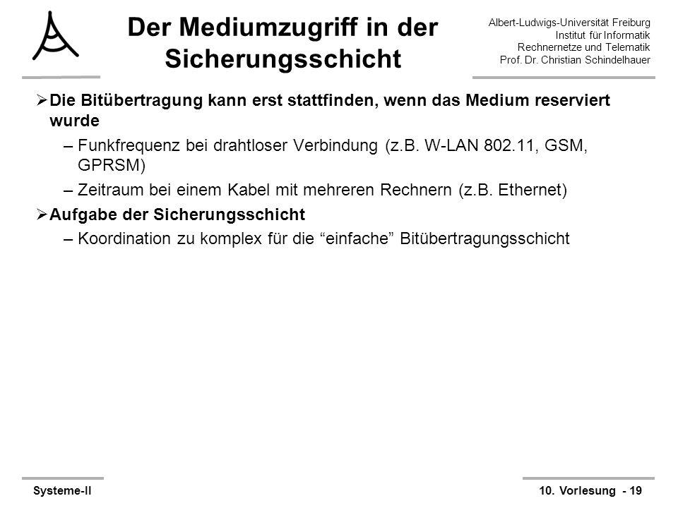 Albert-Ludwigs-Universität Freiburg Institut für Informatik Rechnernetze und Telematik Prof. Dr. Christian Schindelhauer Systeme-II10. Vorlesung - 19