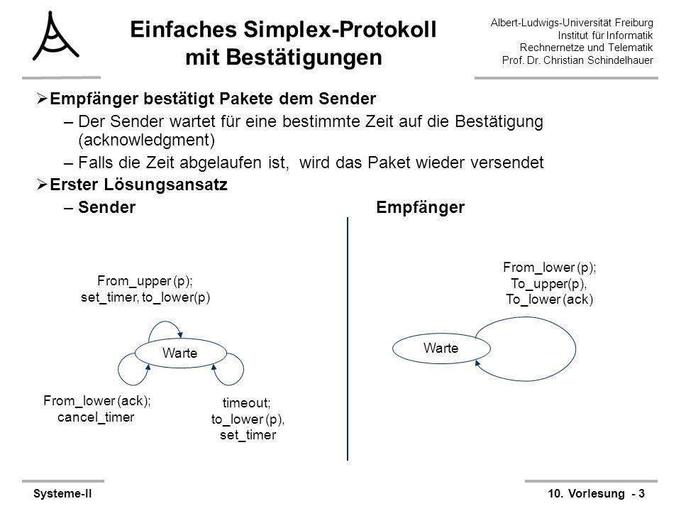 Albert-Ludwigs-Universität Freiburg Institut für Informatik Rechnernetze und Telematik Prof. Dr. Christian Schindelhauer Systeme-II10. Vorlesung - 3 E