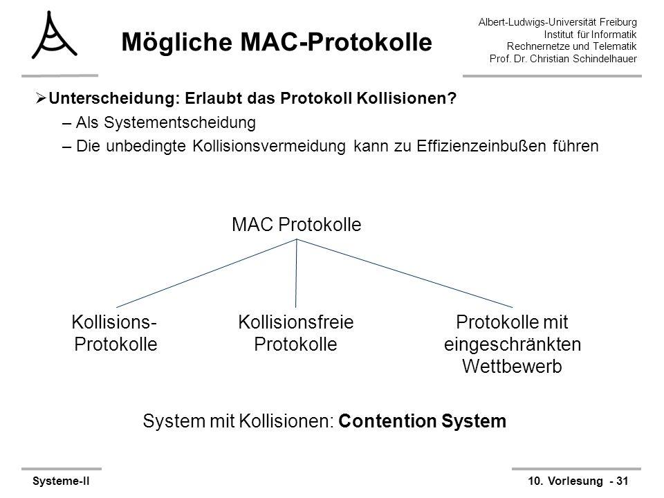 Albert-Ludwigs-Universität Freiburg Institut für Informatik Rechnernetze und Telematik Prof. Dr. Christian Schindelhauer Systeme-II10. Vorlesung - 31