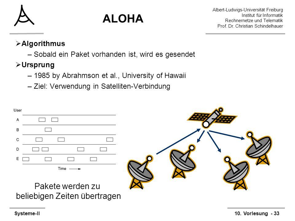 Albert-Ludwigs-Universität Freiburg Institut für Informatik Rechnernetze und Telematik Prof. Dr. Christian Schindelhauer Systeme-II10. Vorlesung - 33