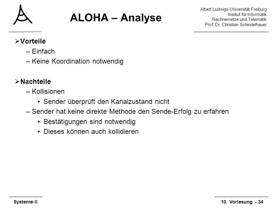 Albert-Ludwigs-Universität Freiburg Institut für Informatik Rechnernetze und Telematik Prof. Dr. Christian Schindelhauer Systeme-II10. Vorlesung - 34