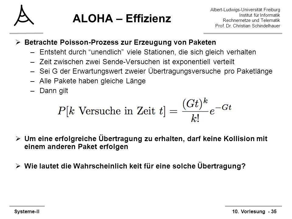 Albert-Ludwigs-Universität Freiburg Institut für Informatik Rechnernetze und Telematik Prof. Dr. Christian Schindelhauer Systeme-II10. Vorlesung - 35