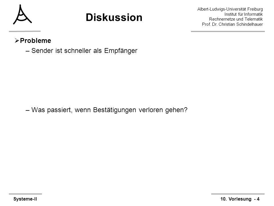 Albert-Ludwigs-Universität Freiburg Institut für Informatik Rechnernetze und Telematik Prof. Dr. Christian Schindelhauer Systeme-II10. Vorlesung - 4 D