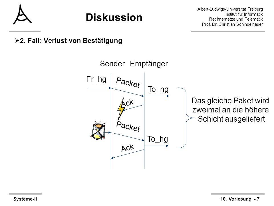 Albert-Ludwigs-Universität Freiburg Institut für Informatik Rechnernetze und Telematik Prof. Dr. Christian Schindelhauer Systeme-II10. Vorlesung - 7 D