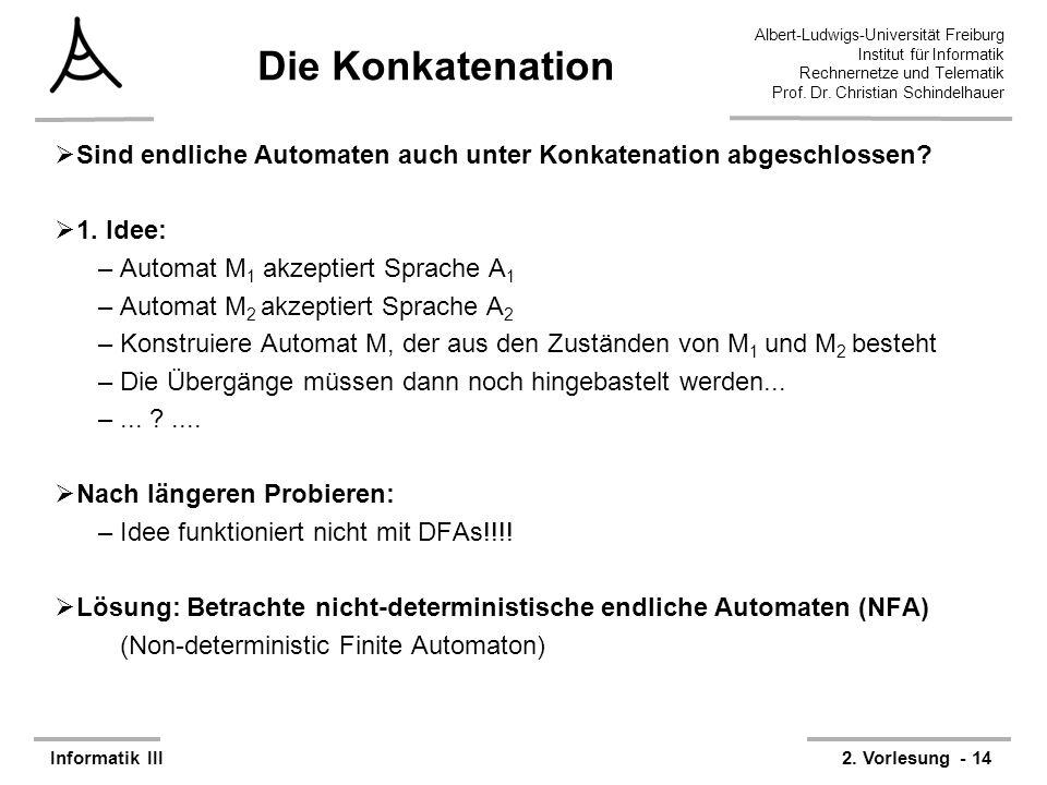 Albert-Ludwigs-Universität Freiburg Institut für Informatik Rechnernetze und Telematik Prof. Dr. Christian Schindelhauer Informatik III2. Vorlesung -